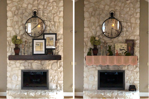 Before and after decorating mantel for Easter