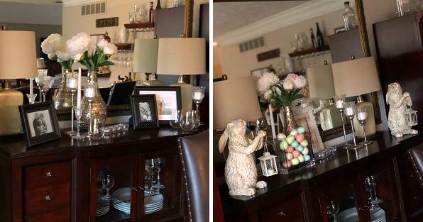 Dining room hutch decorated for normal days and for Easter.