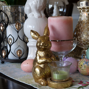 Easter Bunny on table with candles